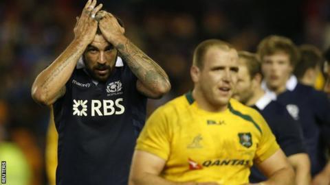 Scotland's Jim Hamilton reacting to the defeat by Australia
