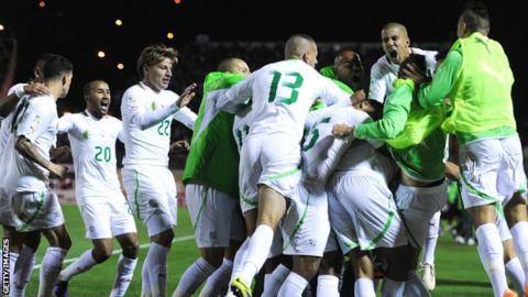 Algeria celebrate Madjid Bougherra's decisive goal against Burkina Faso last week