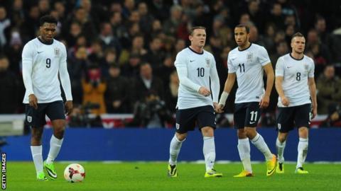 Daniel Sturridge, Wayne Rooney, Andros Townsend and Tom Cleverley
