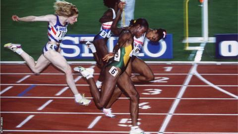 Merlene Ottey dips for the line in the 100m final at the Olympics in Atlanta in 1996.