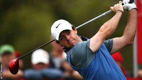 Rory McIlroy in second-round action at Royal Sydney