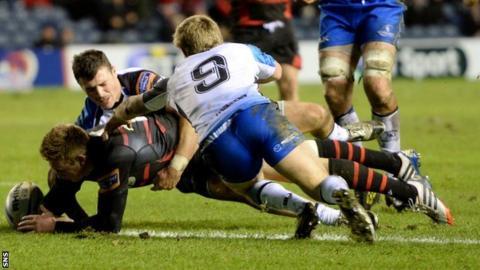 Edinburgh's Dougie Fife scores a try
