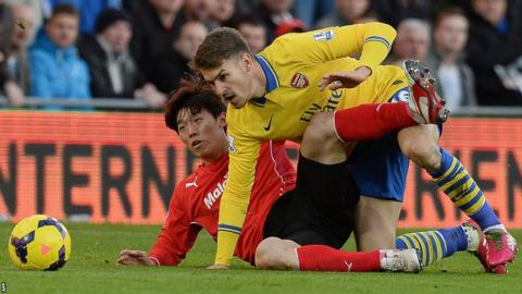 Cardiff's Kim Bo-Kyung tangles with with Arsenal's Welsh midfielder Aaron Ramsey in the Premier League at Cardiff City Stadium