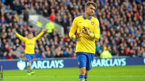 Aaron Ramsey scores for Arsenal at Cardiff