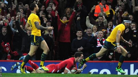 George North scores the opening try in Wales' clash against Australia in Cardiff