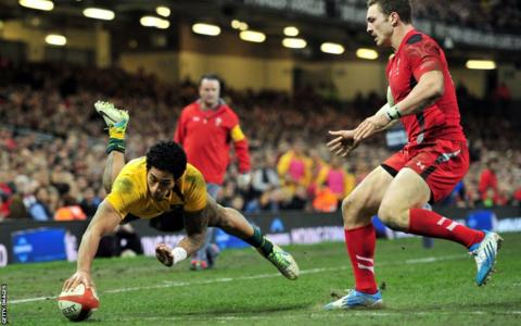 Joe Tomane also crosses for Australia as they build a 27-16 lead