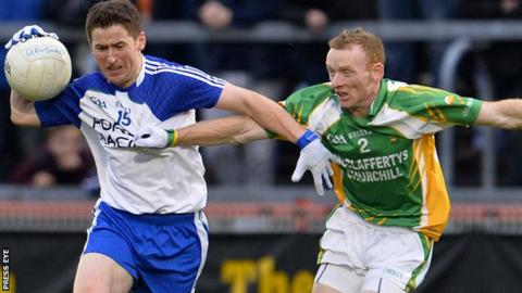Ballinderry's Conleith Gilligan in possession against Brian McDaid of Glenswilly