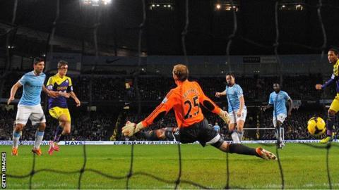 Samir Nasri scores for Manchester City against Swansea