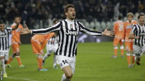 Juventus's Fernando Llorente celebrates after scoring against Udinese
