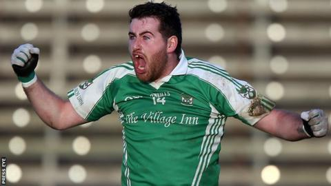 Seamus Quigley celebrates his injury-time penalty in Roslea's Ulster Club win over Ballinagh last month