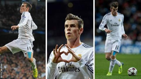 Three different photos of Gareth Bale at Real Madrid