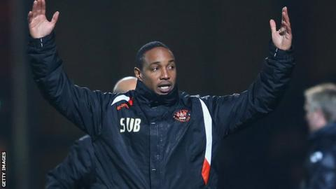 Blackpool boss Paul Ince remonstrates