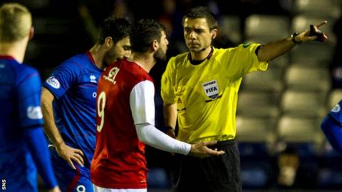 Nadir Ciftci was sent off at the Caledonian Stadium