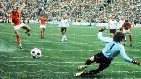 The Telstar was the official ball used in the 1974 World Cup finals in West Germany. Although football design has changed over the years, images of footballs in drawings such as comic books and caricatures are usually still made in the Telstar look, testifying to its enduring appeal.