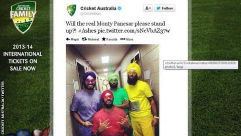 Cricket Australia's official Twitter page poking fun at Monty Panesar