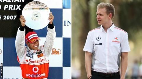 Lewis Hamilton celebrating during his debut season at McLaren and Kevin Magnussen in McLaren shirt