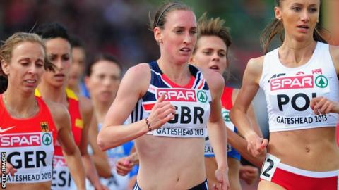 Great Britain's Laura Weightman leads the 2013 European Team Championships 3000m in Gateshead