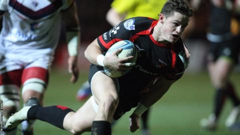 Welsh international wing Hallam Amos scores a third try for the Newport Gwent Dragons in their win v Bordeaux-Begles in the Amlin Challenge Cup clash