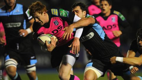 Cardiff Blues outside half Rhys Patchell powers over for the opening try of his side's Heineken Cup victory against Glasgow Warriors