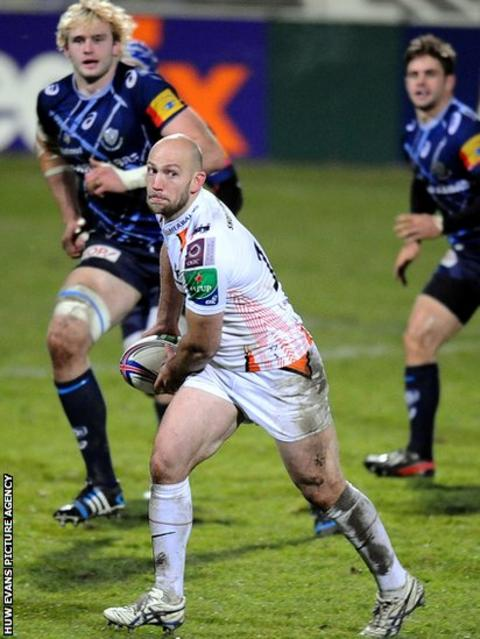 Ospreys full back Richard Fussell on the attack in his side's Heineken Cup loss at Castres