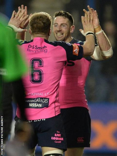 Cardiff Blues wing Alex Cuthbert celebrates with Macauley Cook after scoring the try that sealed his side's 29-20 win v Glasgow Warriors