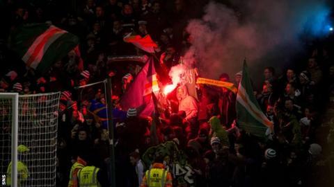 Celtic fans released flares at Fir Park