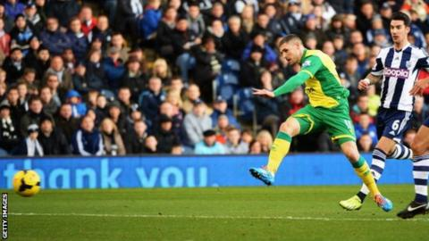 Gary Hooper fires Norwich ahead against West Brom at the Hawthorns