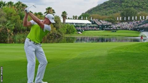 Jamie Donaldson leads the Nedbank Golf Challenge at Sun City