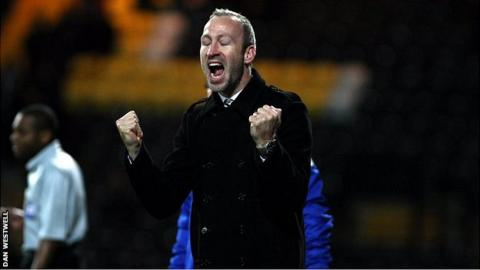 Shaun Derry celebrates his first win at Notts County boss