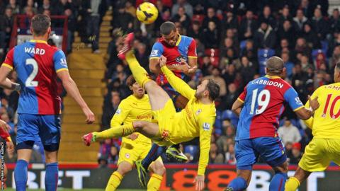 Jordan Mutch attempts to strike back for the Bluebirds at Selhurst Park