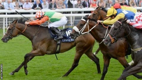 Jwala winning the Nunthorpe Stakes in August