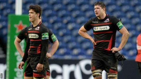 Edinburgh players are disappointed after defeat to Gloucester