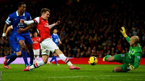 Tim Howard of Everton makes a save from Aaron Ramsey of Arsenal