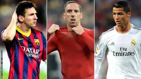 Lionel Messi, Franck Robery and Cristiano Ronaldo