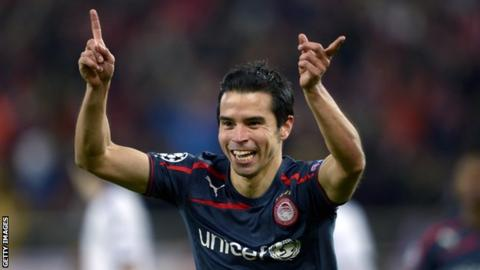 Olympiakos striker Javier Saviola scores twice in the 3-1 win over Anderlecht
