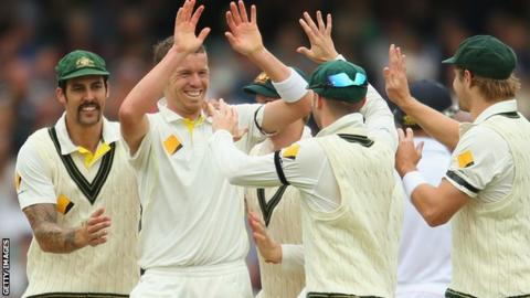 Peter Siddle of Australia celebrates taking a wicket in the second Ashes Test