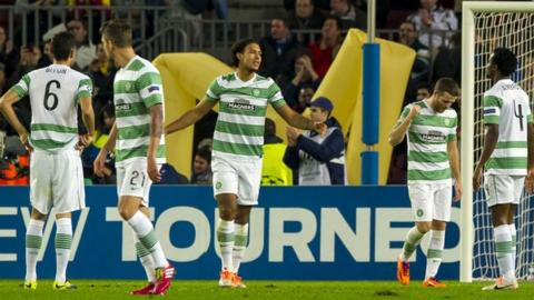 Celtic players in the Nou Camp