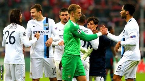 Manchester City celebrate after beating Bayern Munich