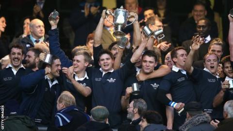 Oxford celebrate winning the Varsity Match 2013