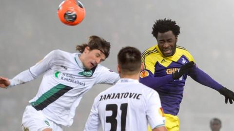 Swansea's Wilfried Bony goes close with a header