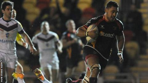 Newport Gwent Dragons number eight Toby Faletau in action against Bordeaux-Begles last week