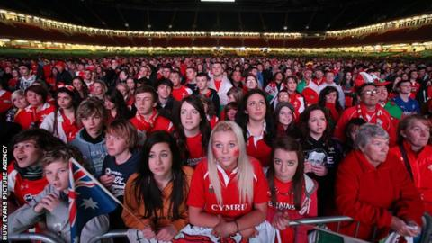 Welsh rugby fans at the Millennium Stadium