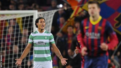Celtic defender Virgil van Dijk shows his disappointment at the Nou Camp