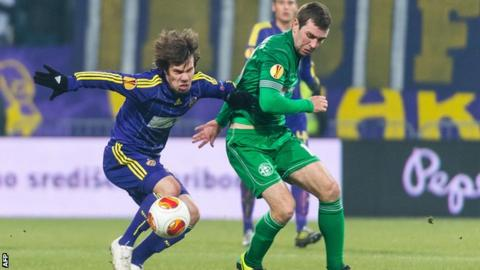 James McArthur in action for Wigan against NK Maribor in the Europa League