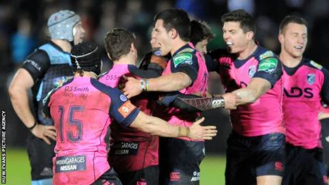 The Blues celebrate the win over Glasgow