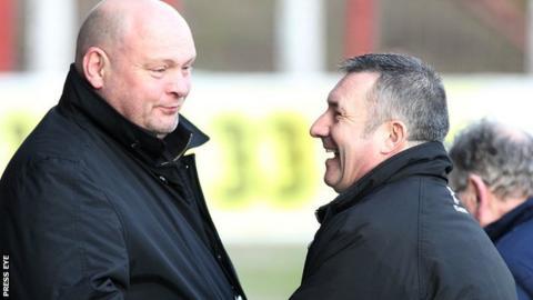 David Jeffrey with Glentoran manager Eddie Patterson