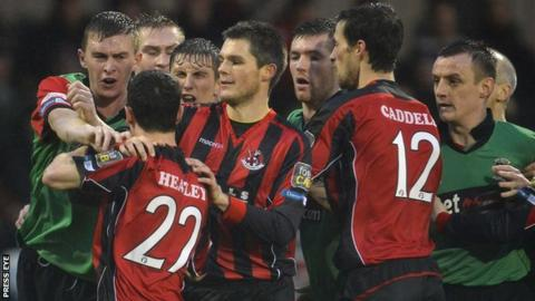 Tempers flare during the match between Crusaders and Glentoran at Seaview