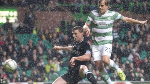 Teemu Pukki opens the scoring for Celtic against Hibs