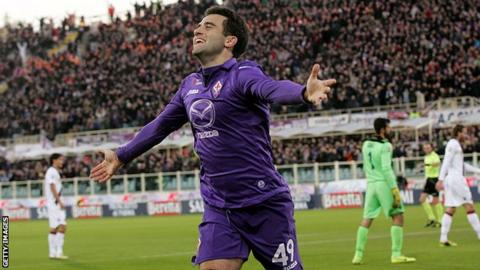 Fiorentina striker Giuseppe Rossi after scoring his 13th Serie A goal of the season