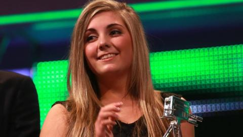 Winner of the Young Sports Personality of the Year 2013, Amber Hill during the 2013 BBC Sports Personality of the Year Awards at the First Direct Arena, Leeds.